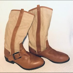 ZARA canvas & leather boots